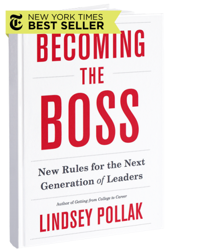 Cover of the book Becoming the Boss by Lindsey Pollak with a sticker on the top of the book that says New York Times Best Seller