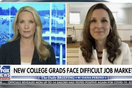 Screenshot of Fox News broadcast with anchor on left and Lindsey Pollak on right with headline reading New college grads face difficult job market