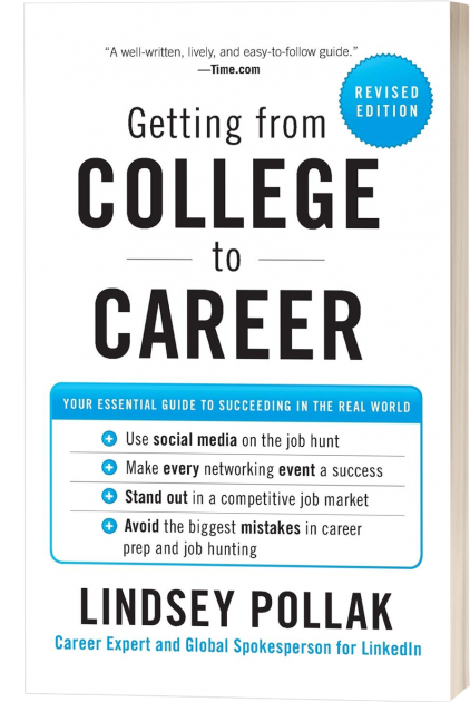 Cover of the book Getting from College to Career by Lindsey Pollak. White book with black text and blue details