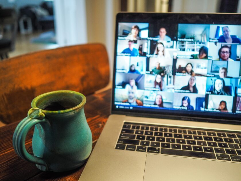 Remote worker prepares for Zoom networking event