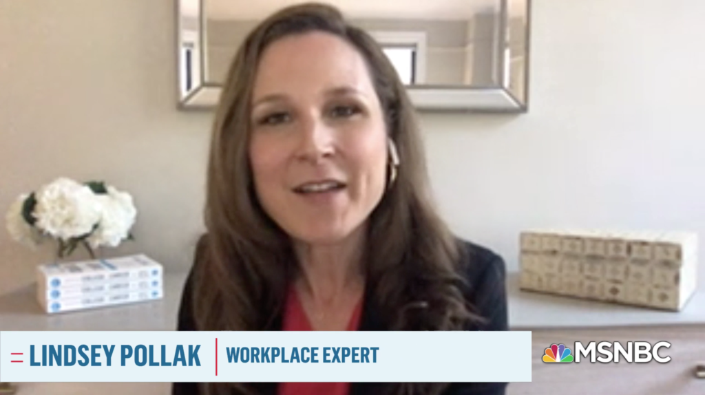 Lindsey Pollak, workplace expert, speaking on MSNBC
