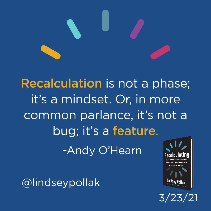 Recalculating book quote graphic lindsey pollak